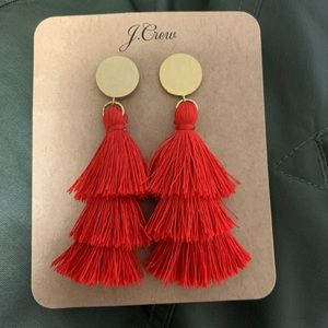 NWT JCrew Red Tassel Earrings